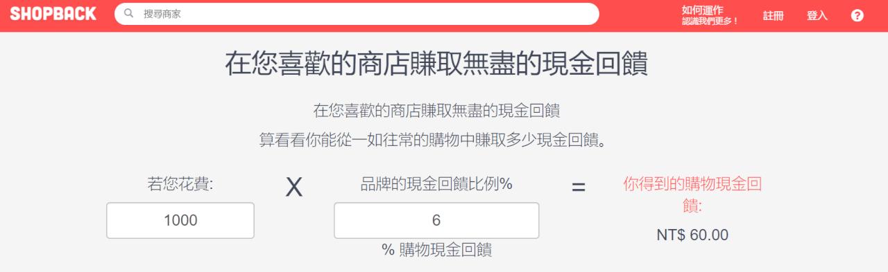 shopback現金回饋模式,台灣最高6%